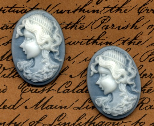 2 Cameo Cabochons Georgian Blue