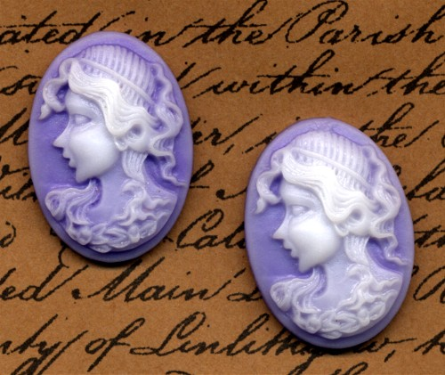2 Cameo Cabochons Lavender