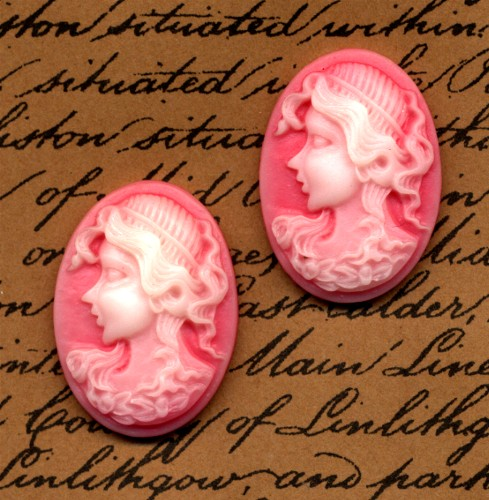 2 Cameo Cabochons Pink