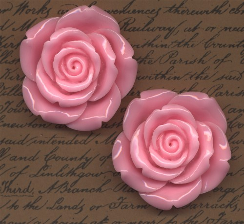 2 Giant Rose Cabochons Pale Pink