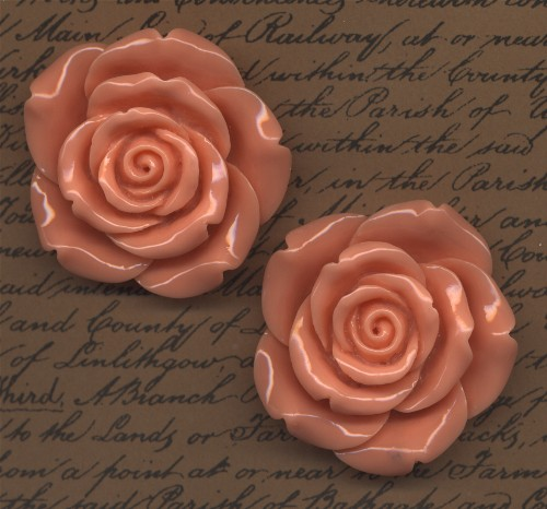 2 Giant Rose Cabochons Peach