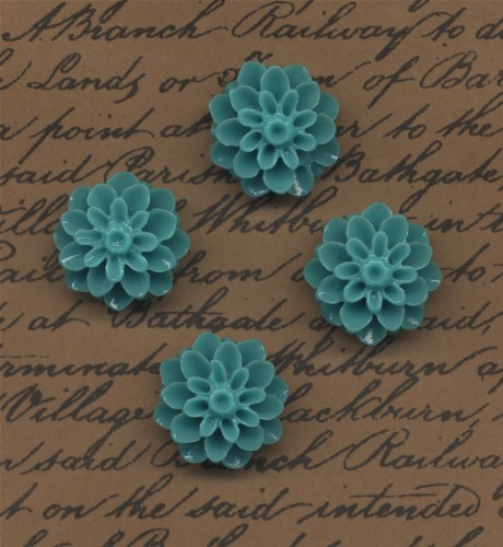 4 Dahlia Cabochons Sea Green