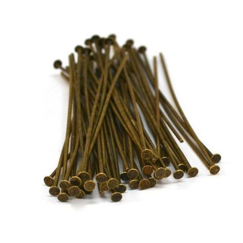 40 Head Pins Antique Gold