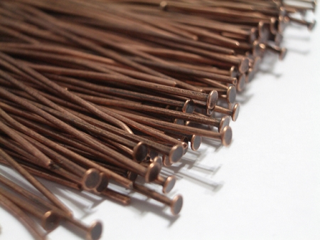40 Head Pins Red Copper