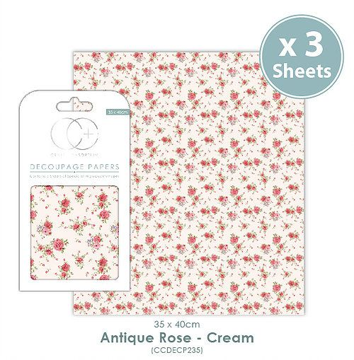 Craft Consortium Decoupage Papers Antique Rose - Cream