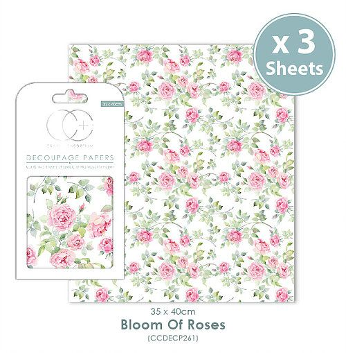 Craft Consortium Decoupage Papers Bloom of Roses