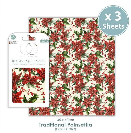 Craft Consortium Decoupage Papers Traditional Poinsettia