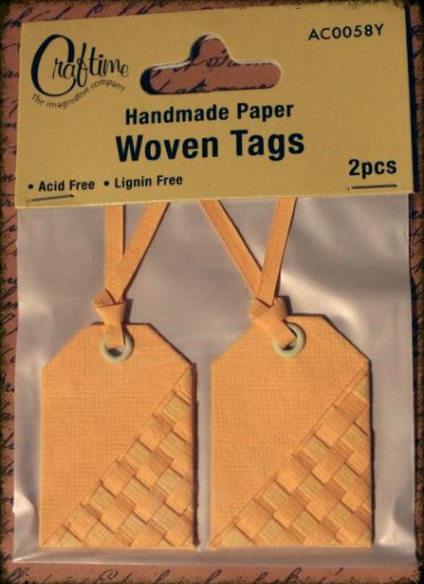 Craftime Woven Tags Yellow