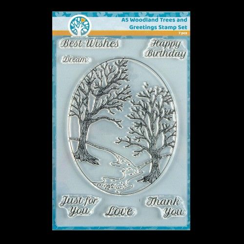 Oakwood Woodland Trees & Greetings Clear Stamp Set