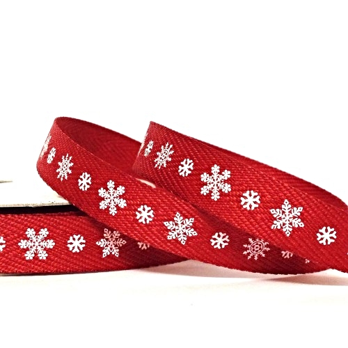 Printed Twill 10mm Snowflake Red - 4 metres