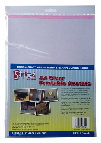 Stix-2 A4 Clear Printable Acetate Sheets