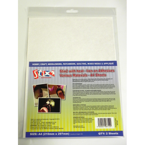 Stix-2 A4 Iron on Adhesive - Various Materials