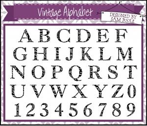 U-mount Vintage Alpha Clear Stamp Set