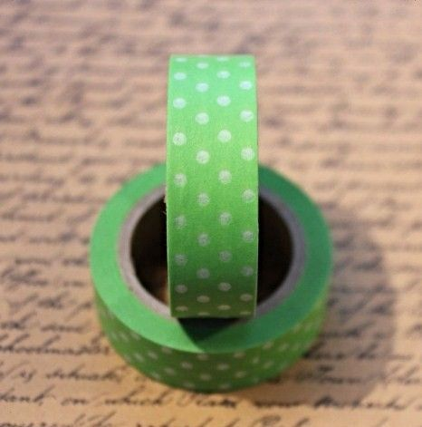 Washi Tape Polka Dot Green/Clear